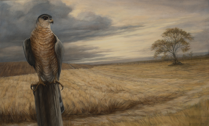 "Rest on the Flight, 2016. Graphite & oil on wood panel, 20x30"". Sold"