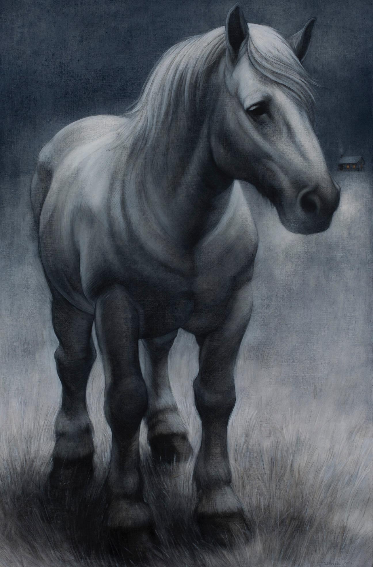"Blue Moon Sentinel, 2017. Graphite & oil on canvas panel, 30x20""."