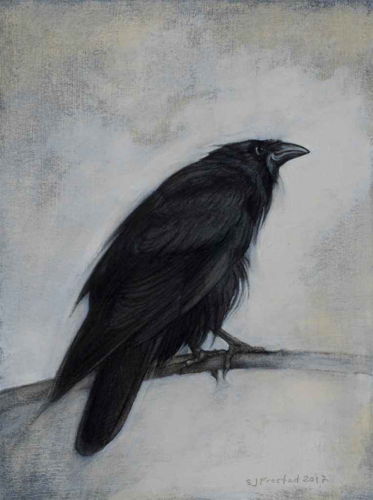 "Cool Raven, 2017. Graphite & oil on art board, 8x6"". Sold"
