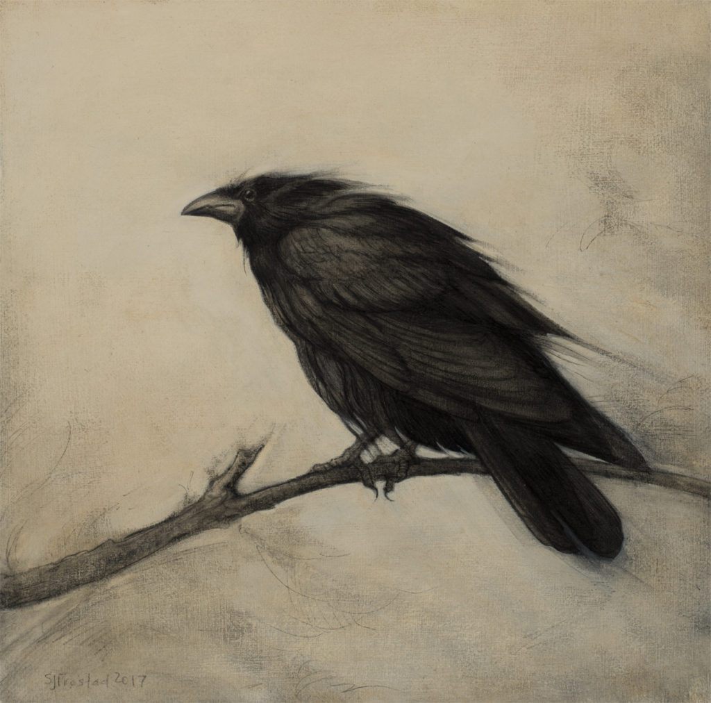 "In the Wind, 2017. Graphite & oil on art board, 8x8"". Sold"