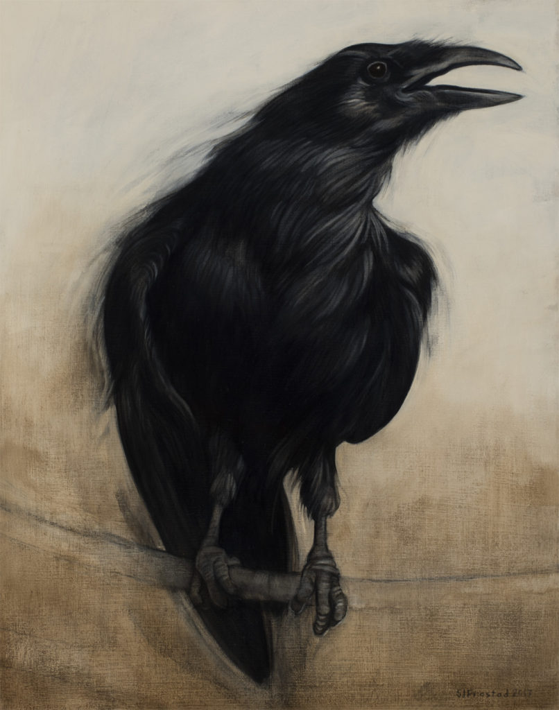 "Munin, 2017. Graphite & oil on wood panel, 14x11"". Sold"