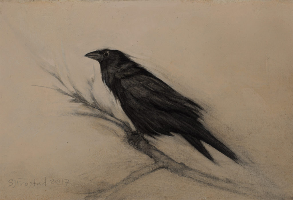 "Perch, 2017. Graphite & oil on art board, 4x6"". Sold"