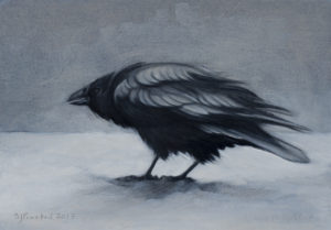 "Raven in Snow, 2017. Graphite & oil on art board, 5x7""."