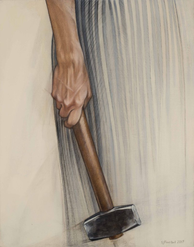 "Sledge, 2017. Graphite & oil on wood panel, 14x11"". Sold"