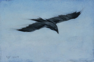 "Soar, 2017. Graphite & oil on art board, 4x6"". Sold"