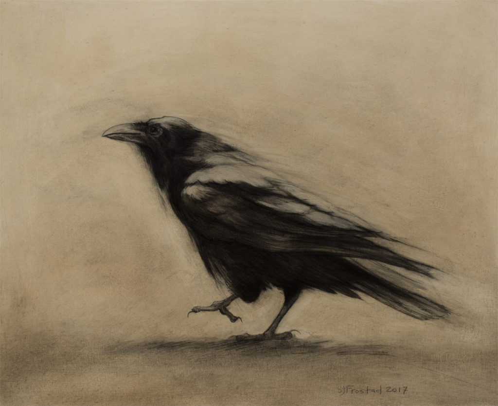"Strutting in the Dust, 2017. Graphite & oil on art board, 8x10"". Sold"