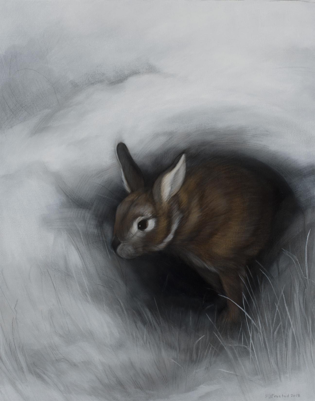 "Burrow, 2018. Graphite & oil on canvas, 20x16"". Sold"