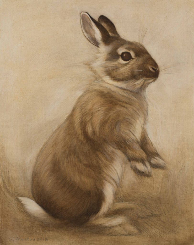 "Curious, 2018. Graphite & oil on wood panel, 10x8"". Sold"