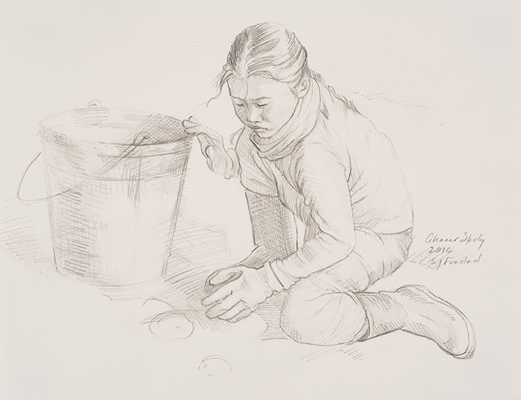 "Gleaner Study, 2016. Graphite on paper, 9x12"". Sold"