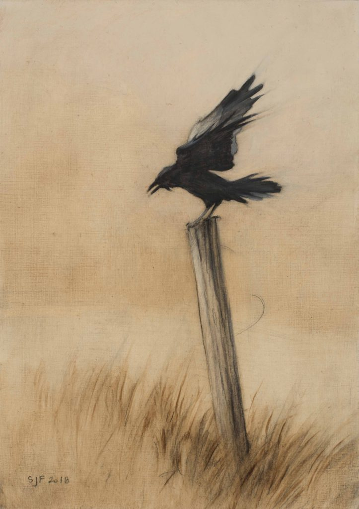 "Alighting in Wind, 2018. Graphite & oil on wood, 7x5"". Sold"