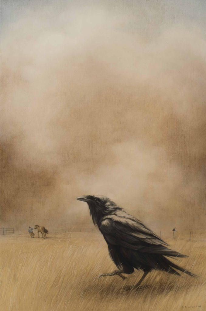 Dust Storm, 2018. Graphite & oil on wood panel, 30x20""
