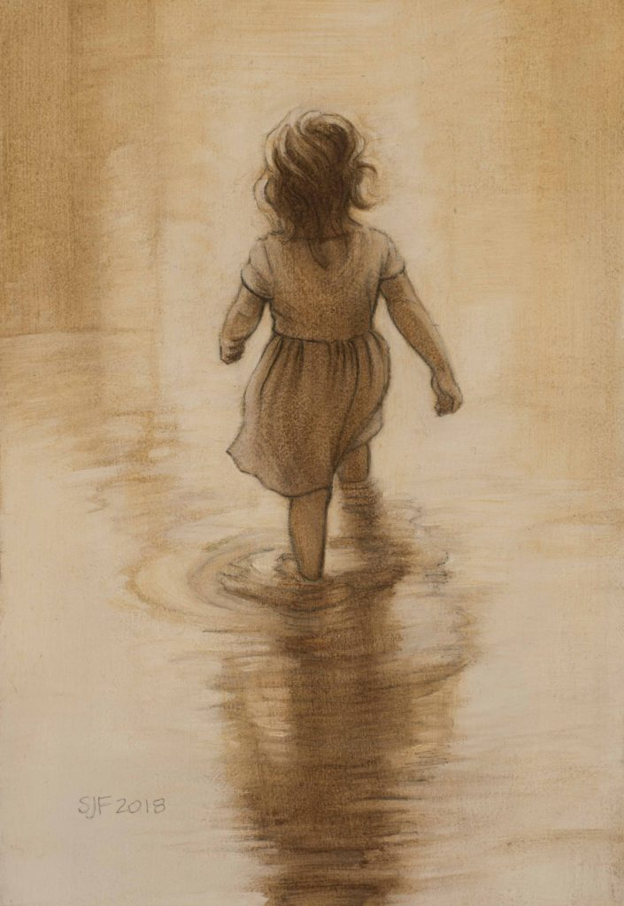 "Little Wader, 2018. Graphite & oil on art board, 6x4"" Sold"