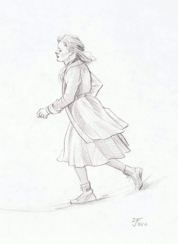 Running Girl, 2018. Graphite on paper, 7x5""