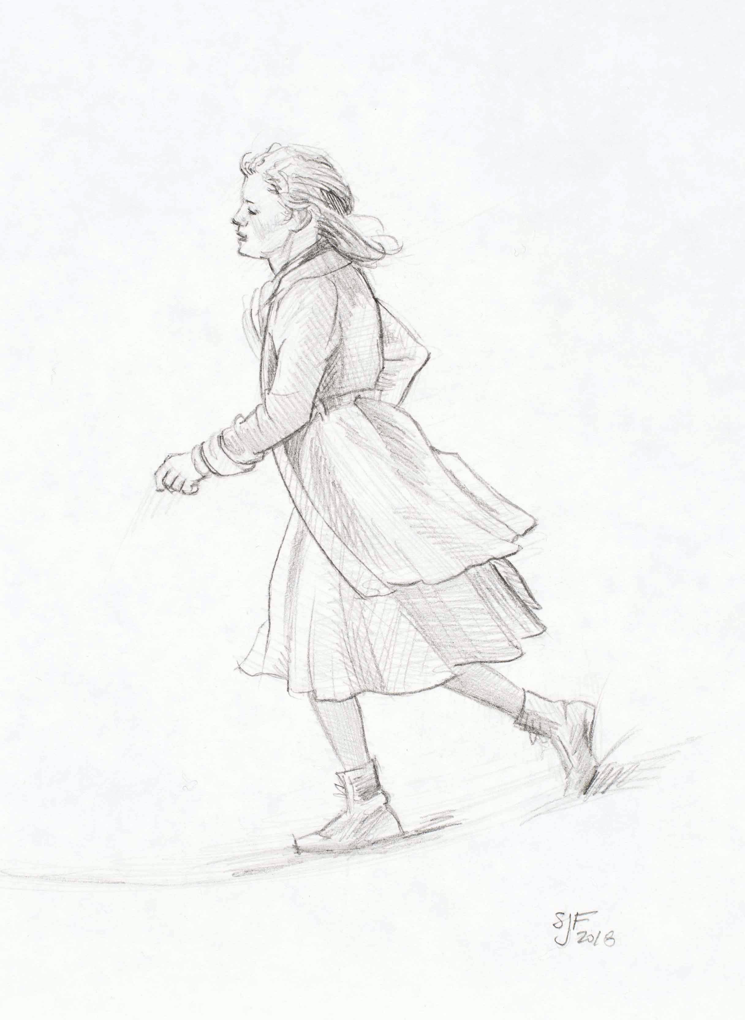 "Running Girl, 2018. Graphite on paper, 7x5"""