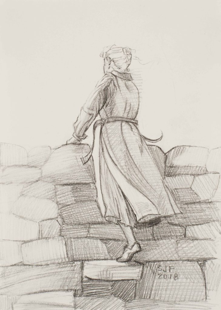 At the Stile, 2018. Graphite on paper, 7x5""