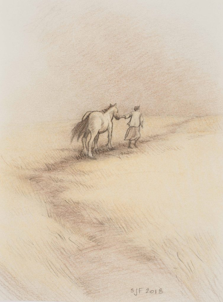 "Dust Storm Study, 2018. Mixed media on paper, 7x5""."
