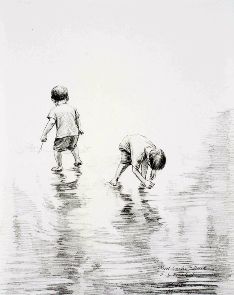 Mud Larks, 2018. Graphite on paper, 10x8""