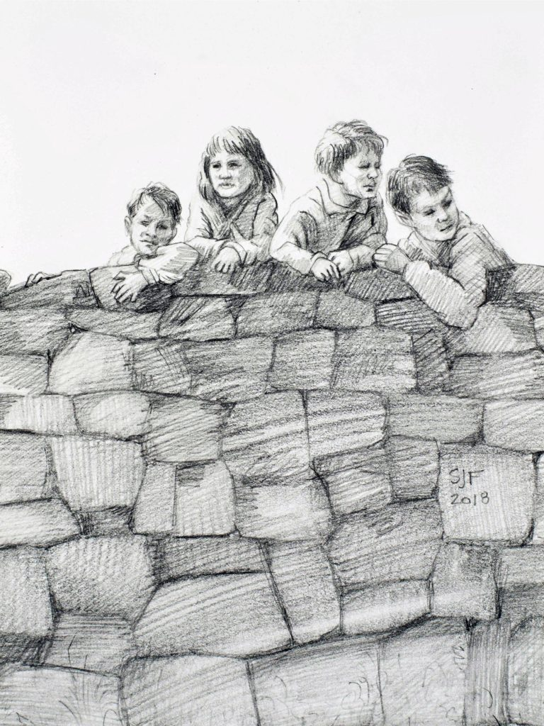"Outside the Wall, 2018. Graphite on paper, 7x5"" Sold"