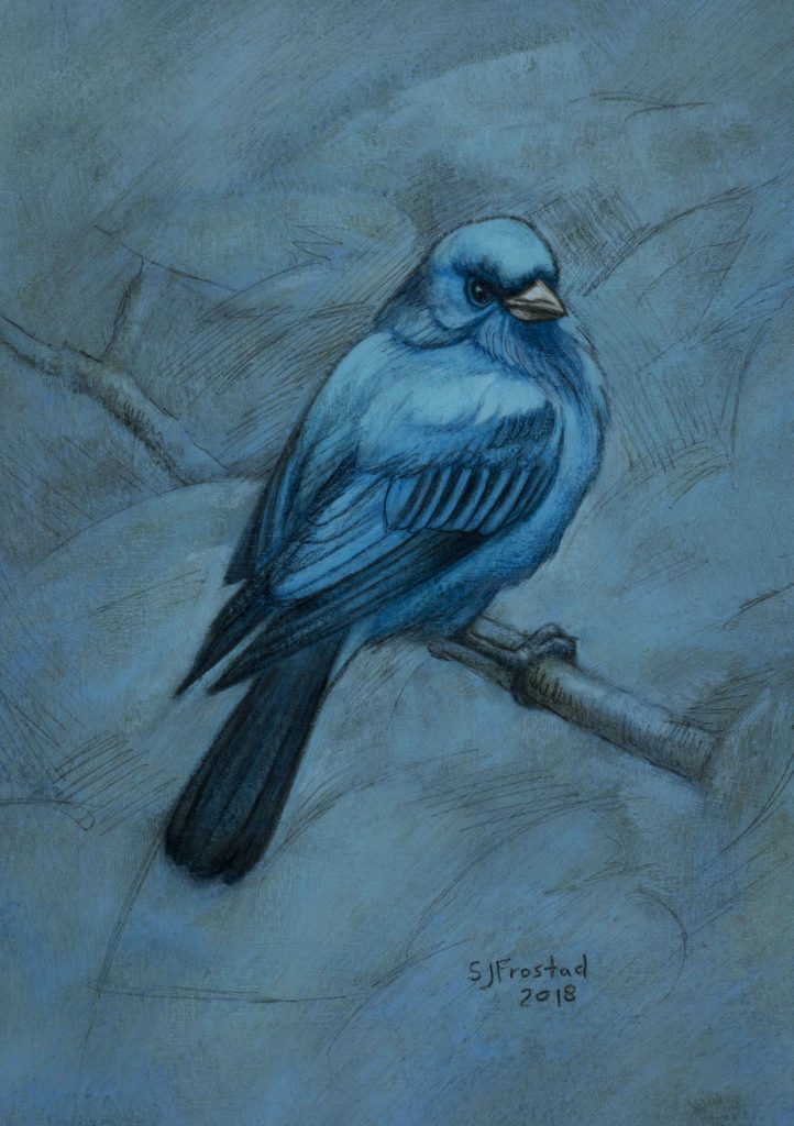 "A Little Indigo, 2018. Graphite & oil on paper, 7x5"". Sold"