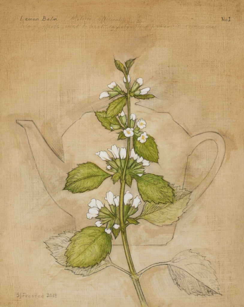 "Tea Leaves I, 2018. Graphite & oil on wood panel, 10x8"" Sold"