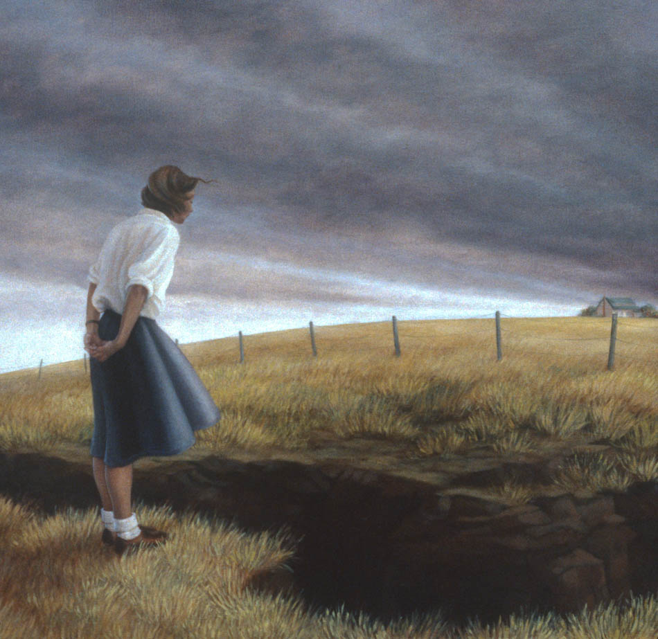 "Ravine, 1998. Oil on canvas, 25x25.5"". Sold"