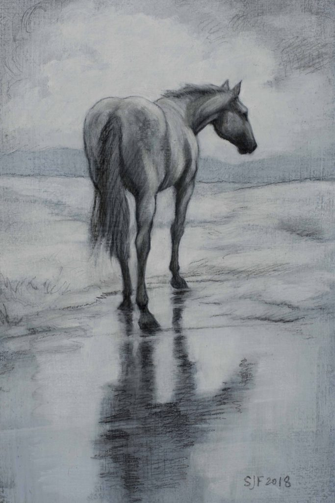 "Old Gray mare, 2018. Graphite & oil on art board, 6x4"". Sold"