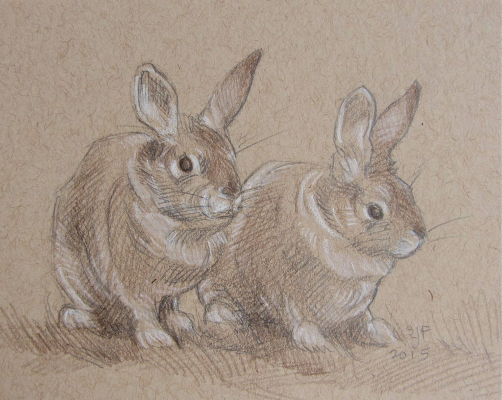 "Rabbit Rabbit, 2015. Mixed media on paper, 3.5x5""."