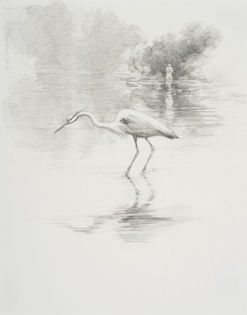 """Toward the Depths, 2015. Graphite on paper, 10x8"""" Sold"""