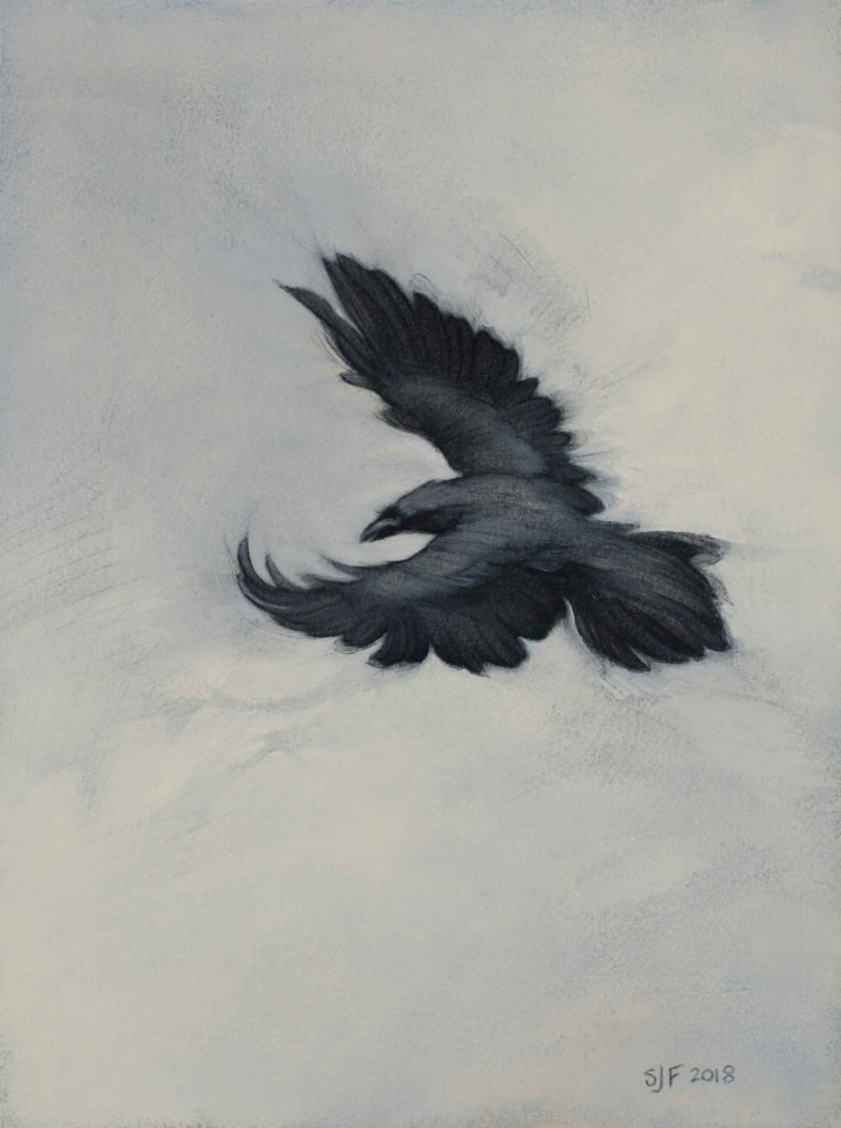 "Ascending, 2018. Graphite & oil on art board, 8x6"". Sold"