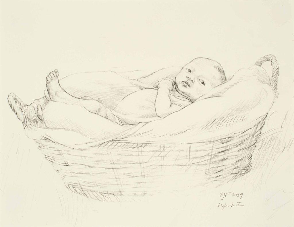 "Infant I, 2019. Graphite on paper, 8.5x11"""
