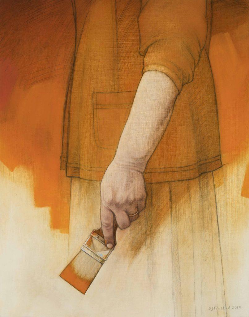 "Spectrum: Orange, 2019. Graphite & oil on wood panel, 14x11"". Sold"
