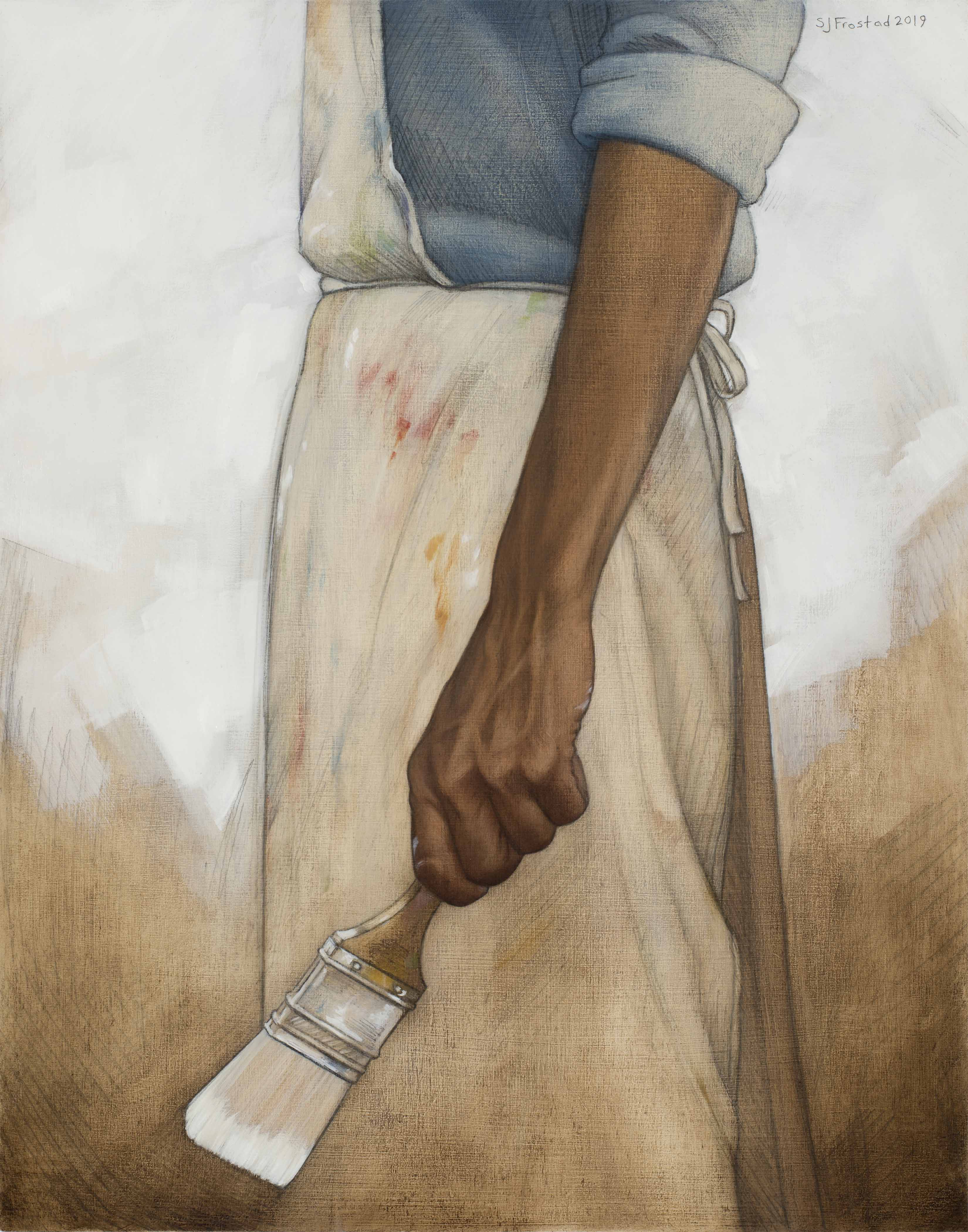 "Tabula Rasa, 2019. Graphite & oil on wood panel, 14x11"". Sold"
