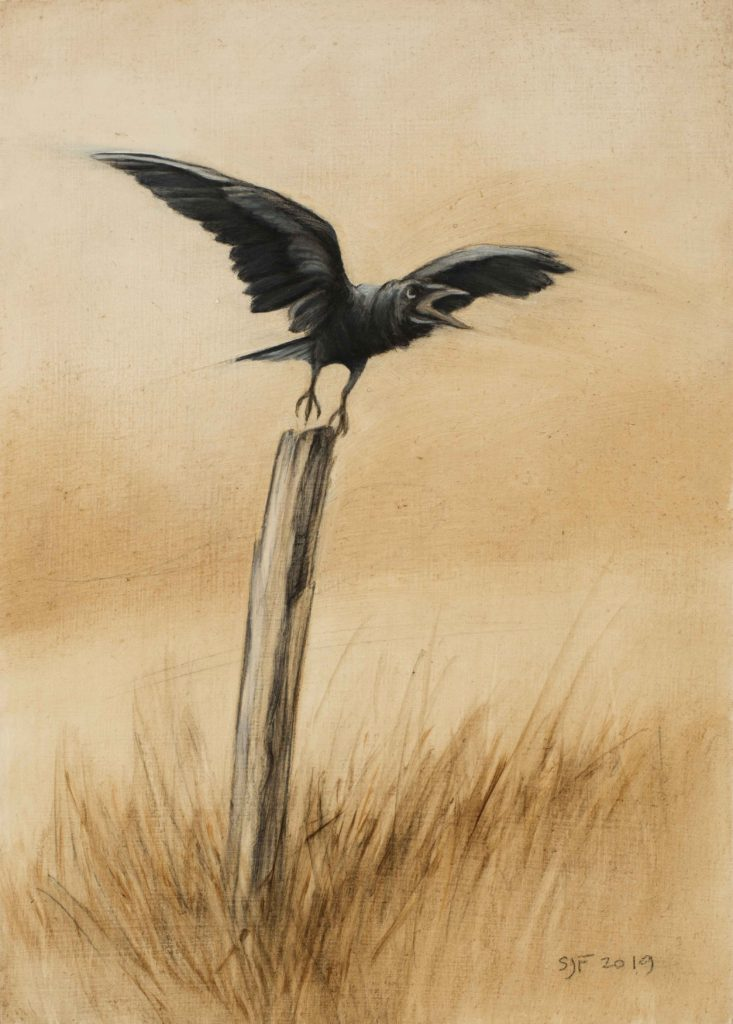"Lifting Off, 2019. Graphite & oil on wood panel, 7x5"". Sold"