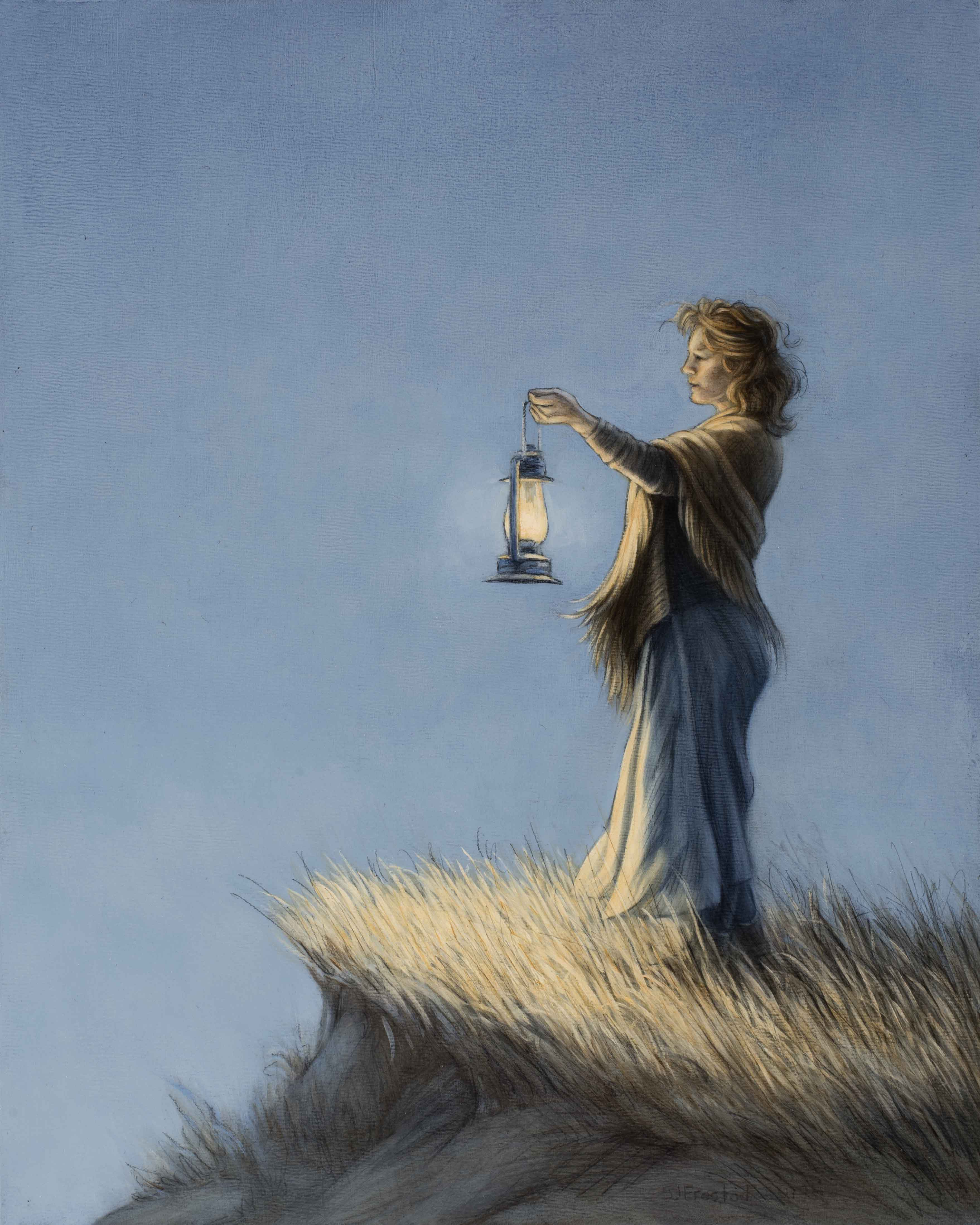 """Raising a Lamp, 2019. Graphite & oil on wood panel 10x8"""" Sold"""